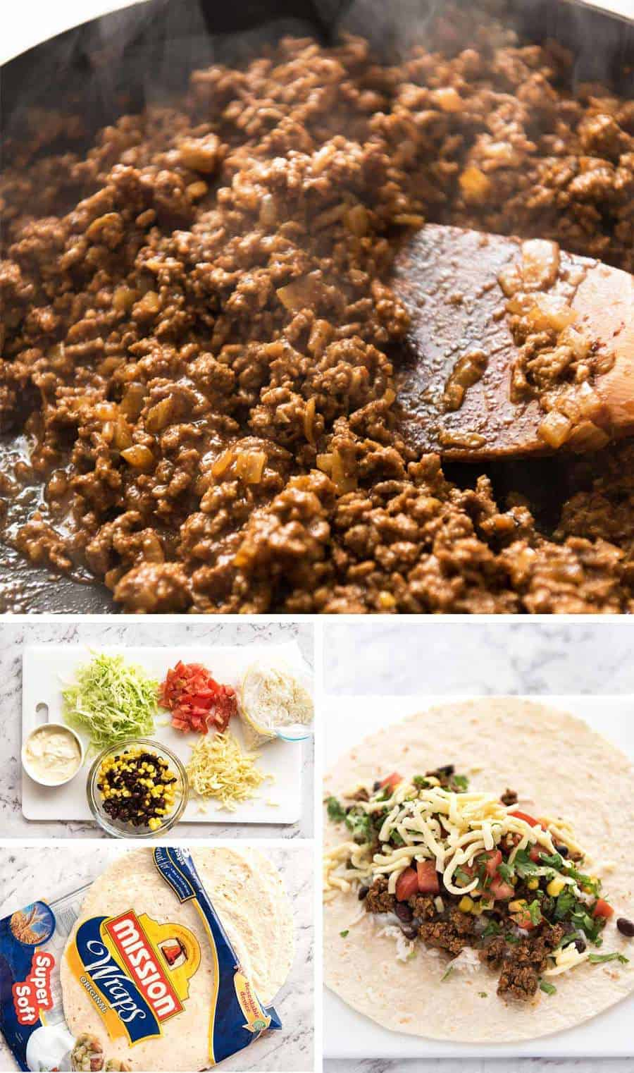 A great everyday Beef Burrito, made with super tasty seasoned beef filling. Fresh and freezable versions! www.recipetineats.com