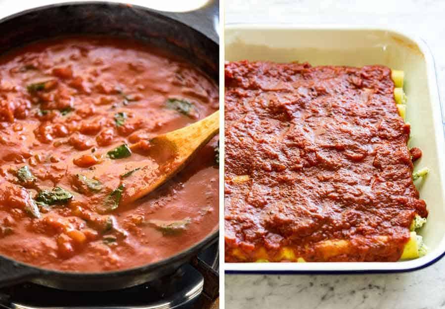 Tomato pasta sauce for cannelloni