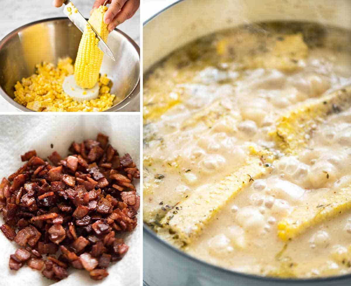 How to Make Corn Chowder with Bacon www.recipetineats.com