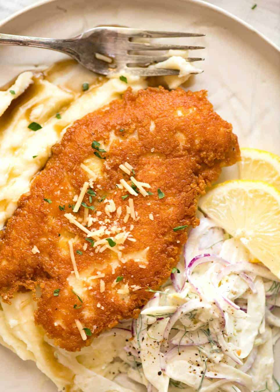 Crispy Parmesan Crusted Chicken Breast Recipetin Eats