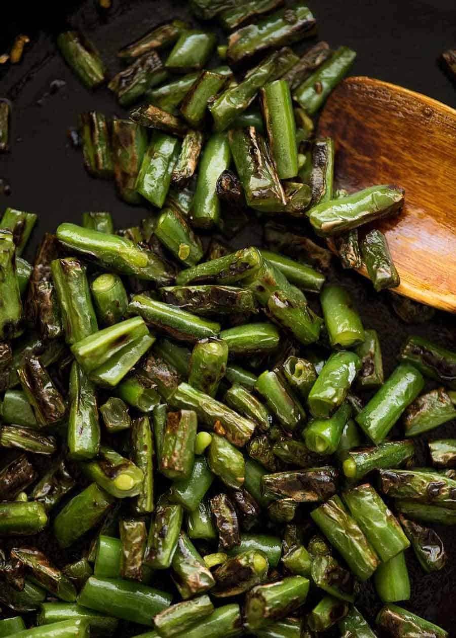 Photo of charred green beans for Pork Stir Fry with Green Beans