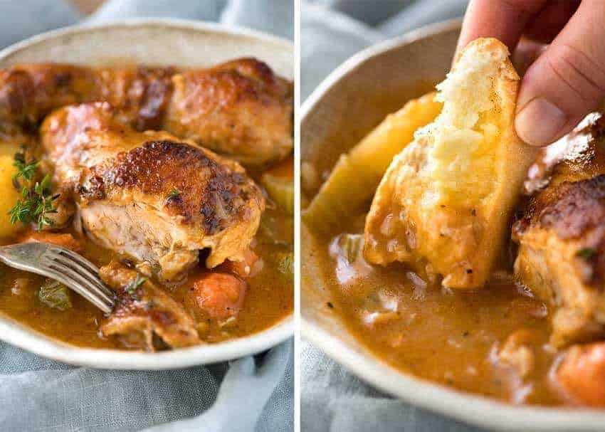 Close up of Chicken Stew in a rustic brown bowl.