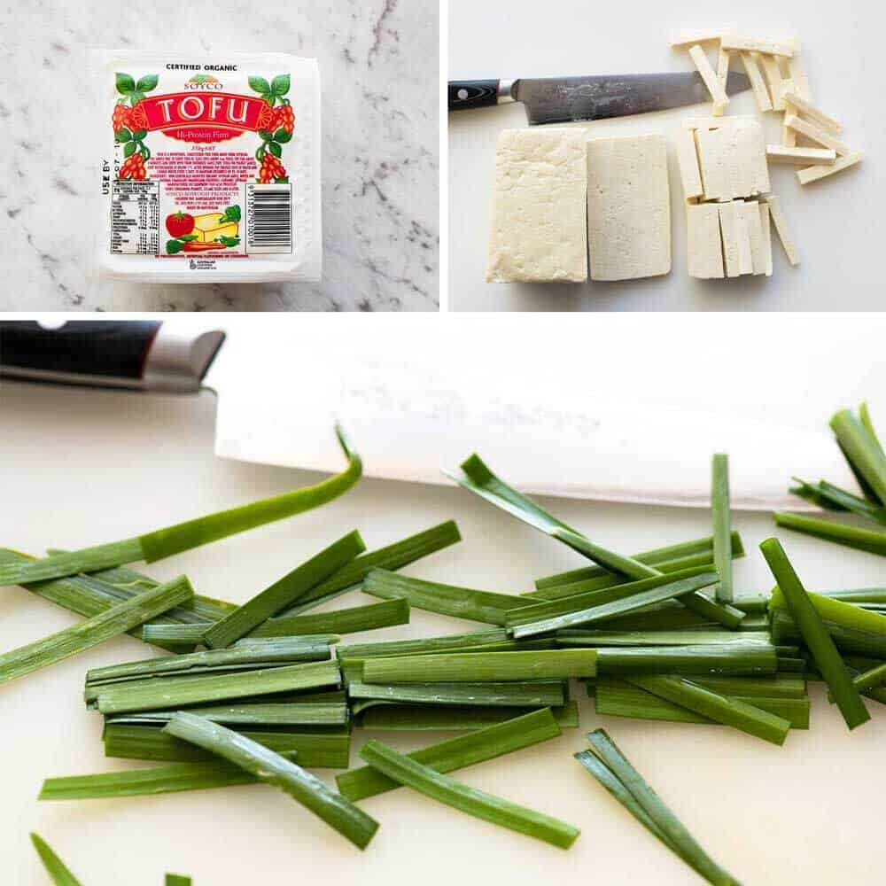 Firm Tofu and Garlic Chives for Pad Thai