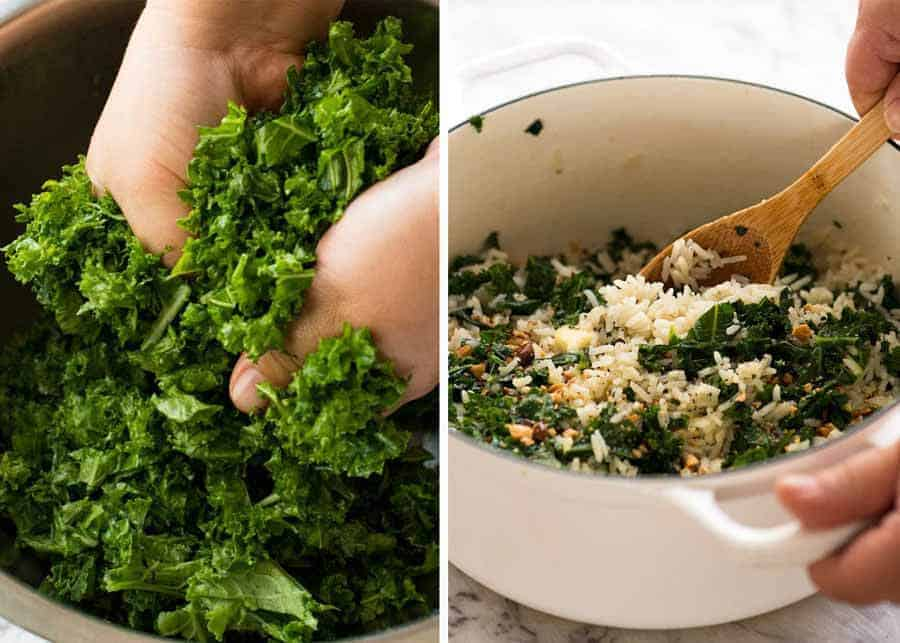Preparing kale for Garlic Butter Rice with Kale recipe