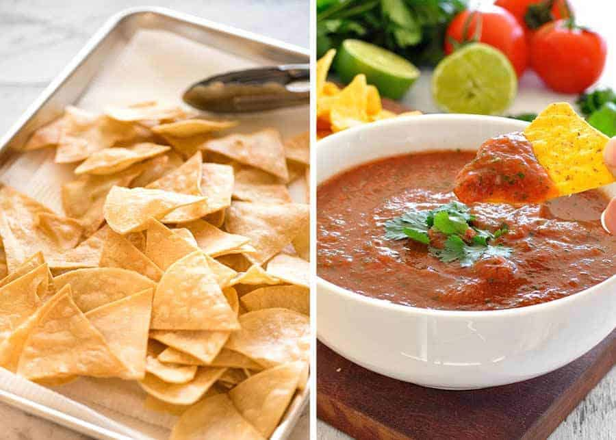 Photo of homemade tortilla chips on a silver tray next to a dish of Restaurant Style Salsa.