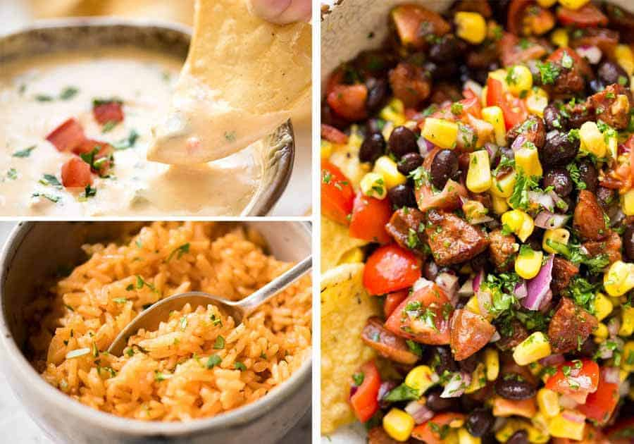 Photo of Great Mexican Sides - Pig Out Salsa, Queso Dip and Mexican Red Rice.