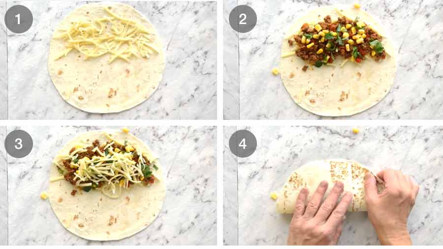 How to fill a quesadilla