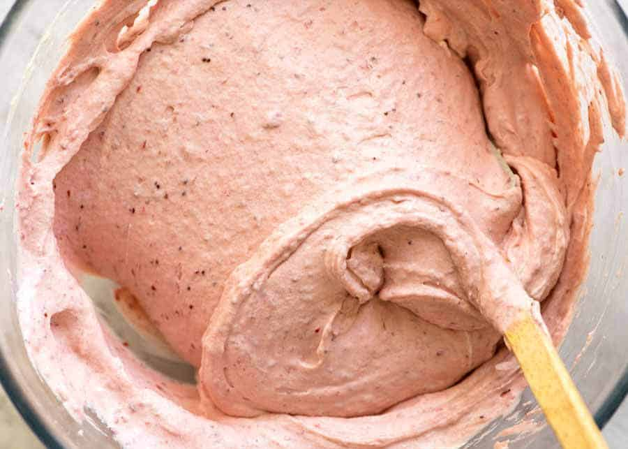 Preparation of No Churn Strawberry Ice Cream