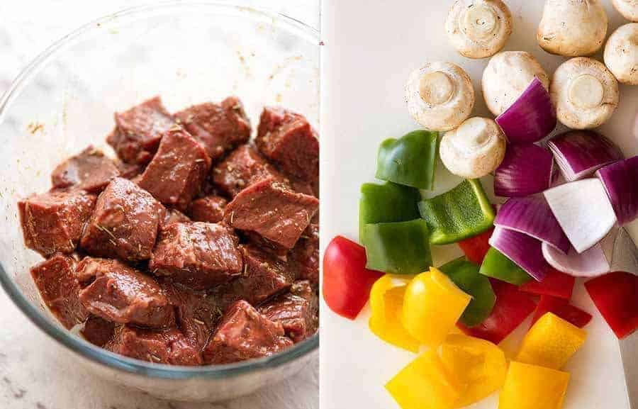 Marinated beef for Beef Kabobs