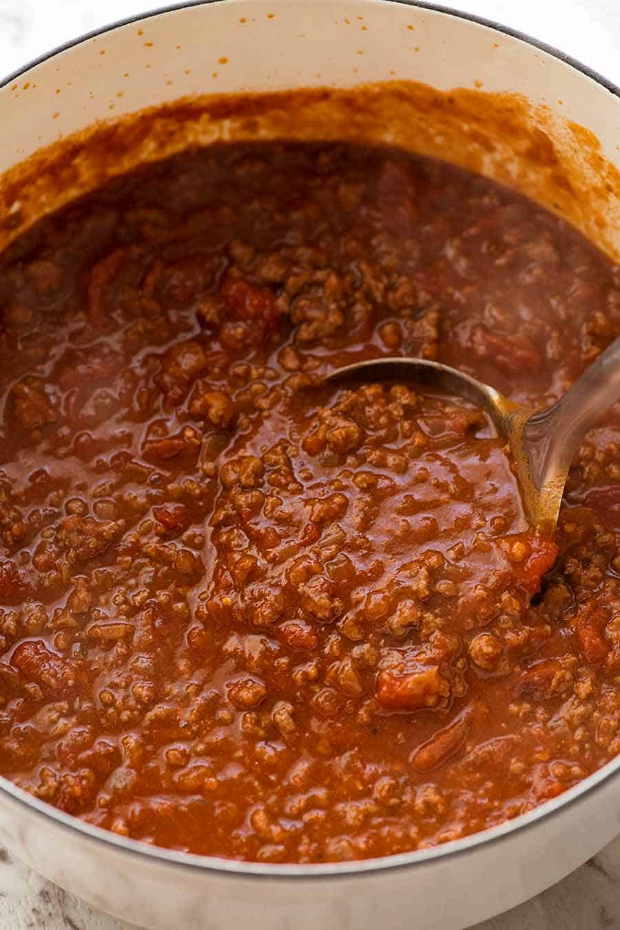 Close up of Bolognese Sauce in a pot, fresh off the stove