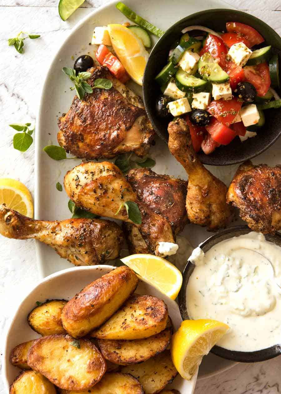 Greek Dinner Feast with Greek Marinated Chicken, Greek Salad, Tzatziki and Greek Lemon Roasted Potatoes
