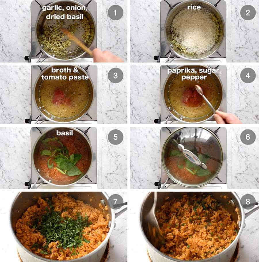 Preparation steps for How to make Tomato Basil Rice