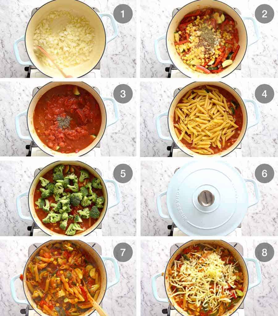 How to make One Pot Vegetable Pasta (healthy pasta recipe)