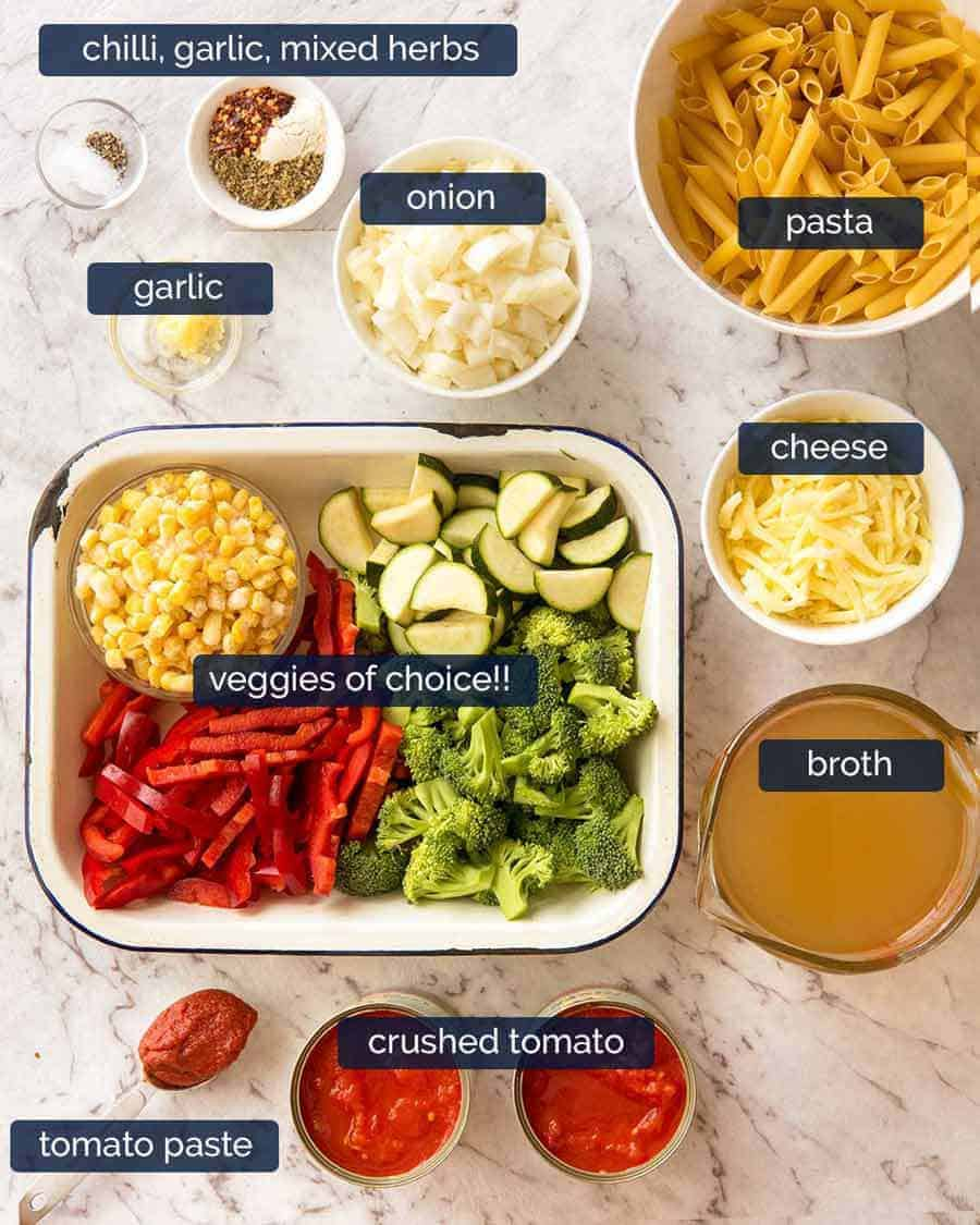 Ingredients in One Pot Vegetable Pasta (healthy pasta recipe)