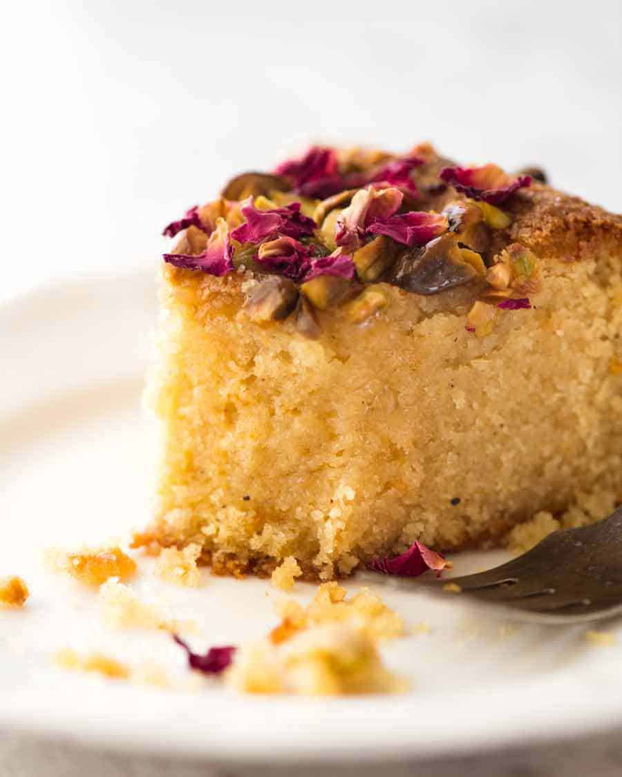 Close up of a slice of Persian Love Cake
