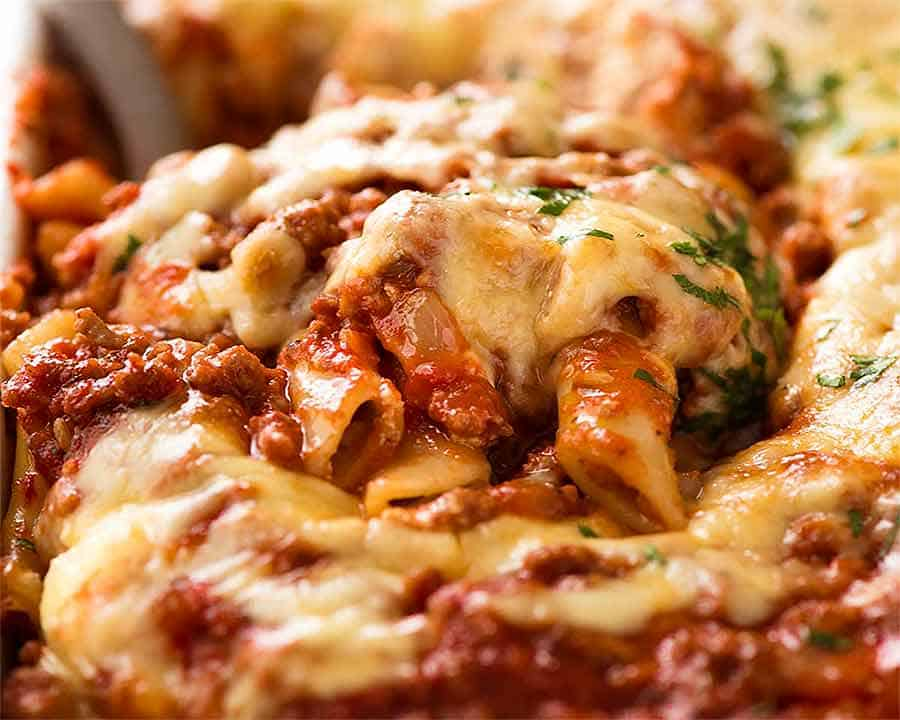 Close up of serving Baked Ziti fresh out of the oven