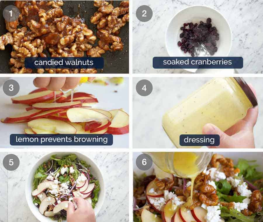 How to make Apple Salad with Candied Walnuts and Cranberries
