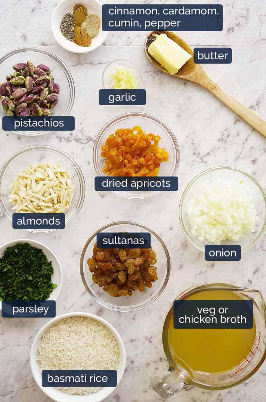 Ingredients in Rice Pilaf