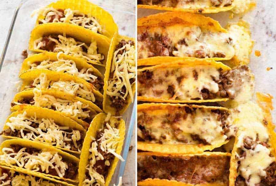 Preparation steps for baked Beef Taco recipe