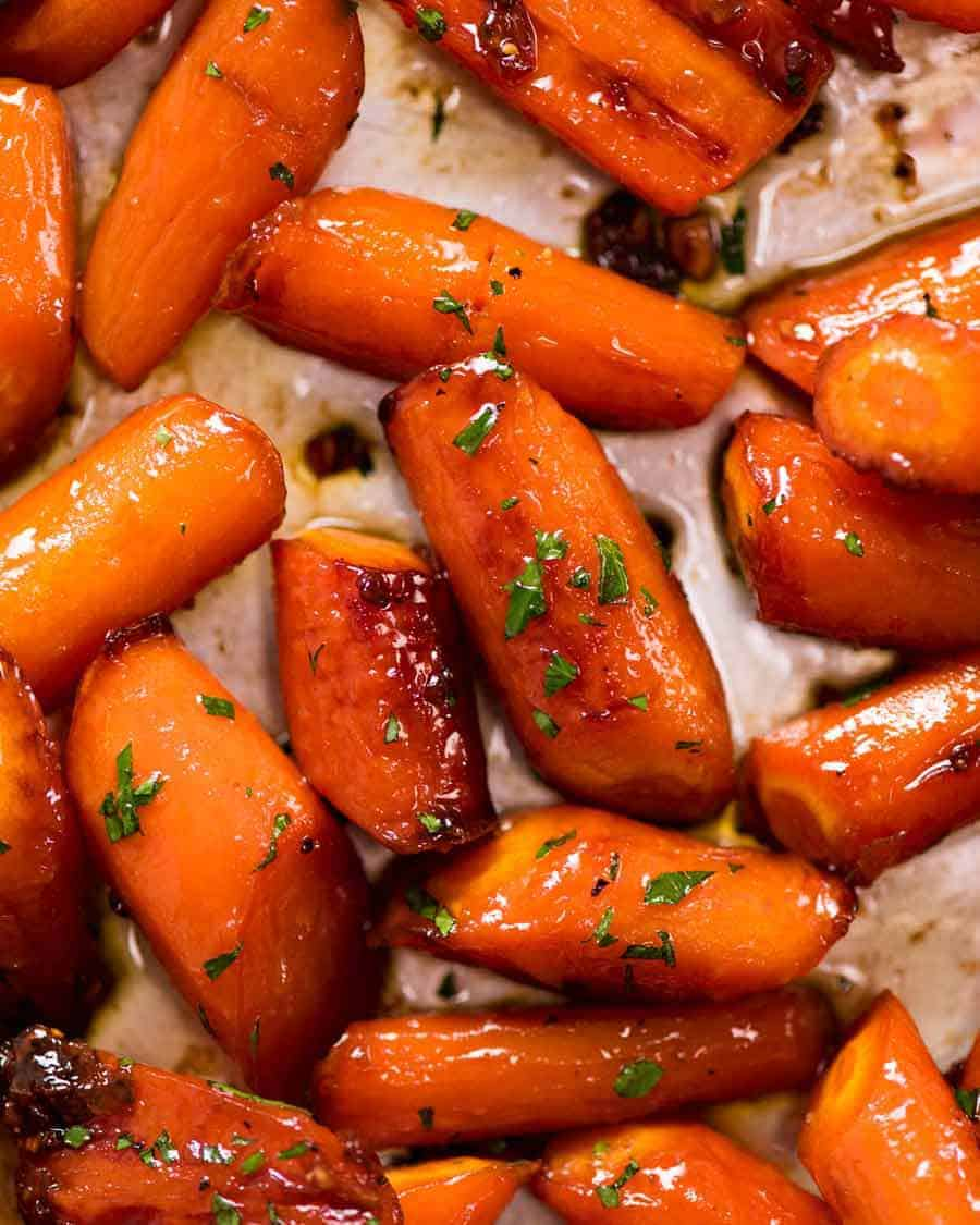 Close up overhead of Brown Sugar Glazed Carrots, fresh out of the oven