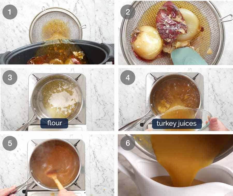How to make Gravy for juicy Garlic Herb Slow Cooker Turkey Breast