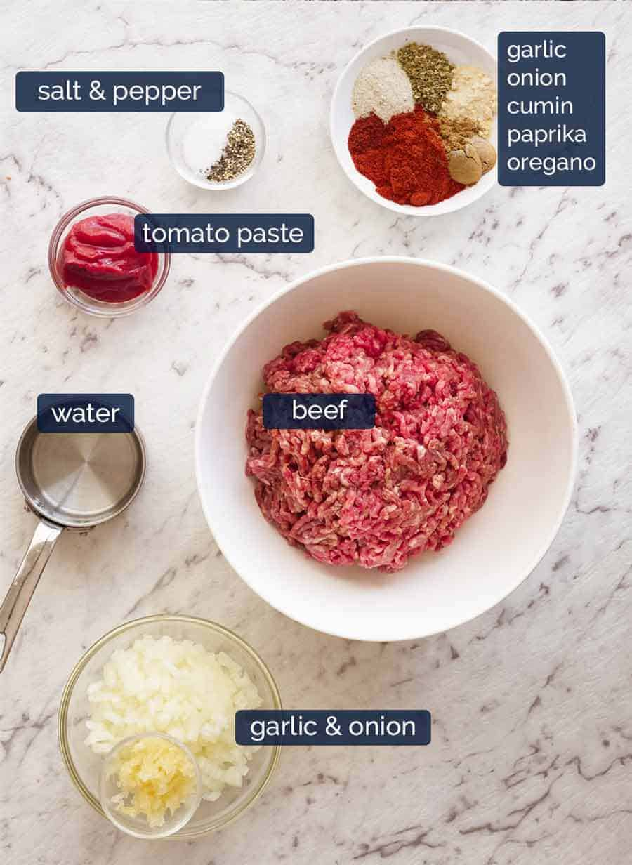 Ingredients for the BEST Taco Meat