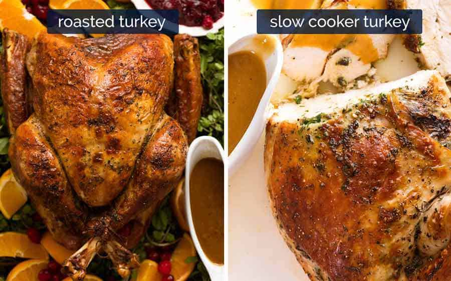 Roasted turkey and slow cooker turkey with gravy