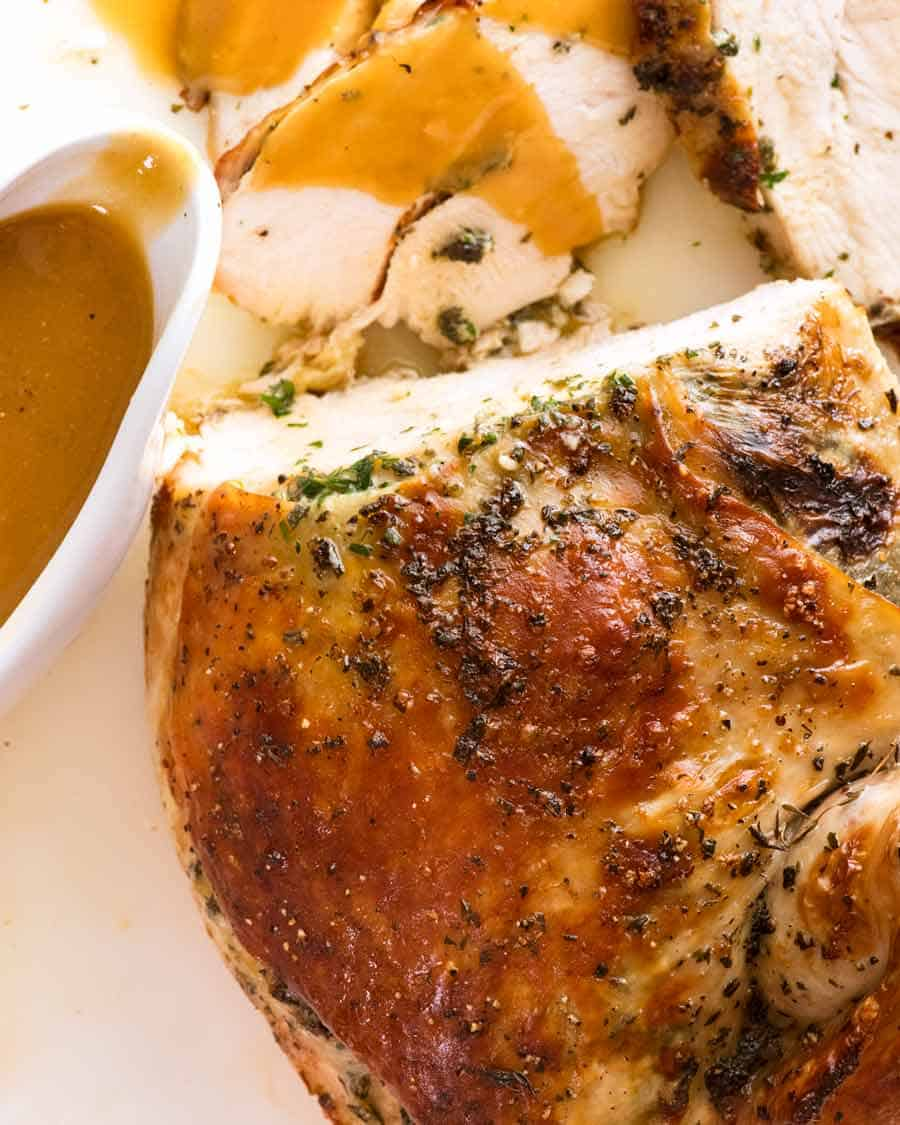 Garlic Herb Butter Slow Cooker Turkey Breast Recipetin Eats