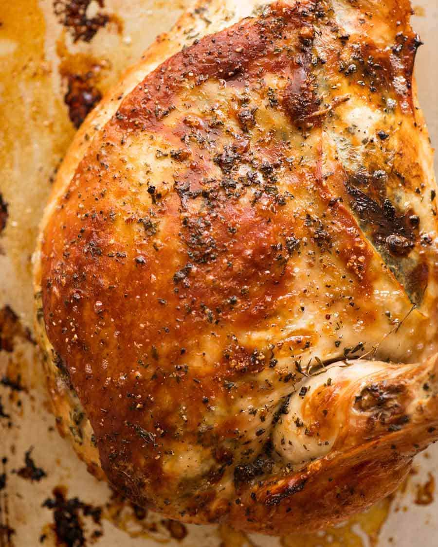 Garlic Herb Slow Cooker Turkey Breast after crisping under broiler / grill