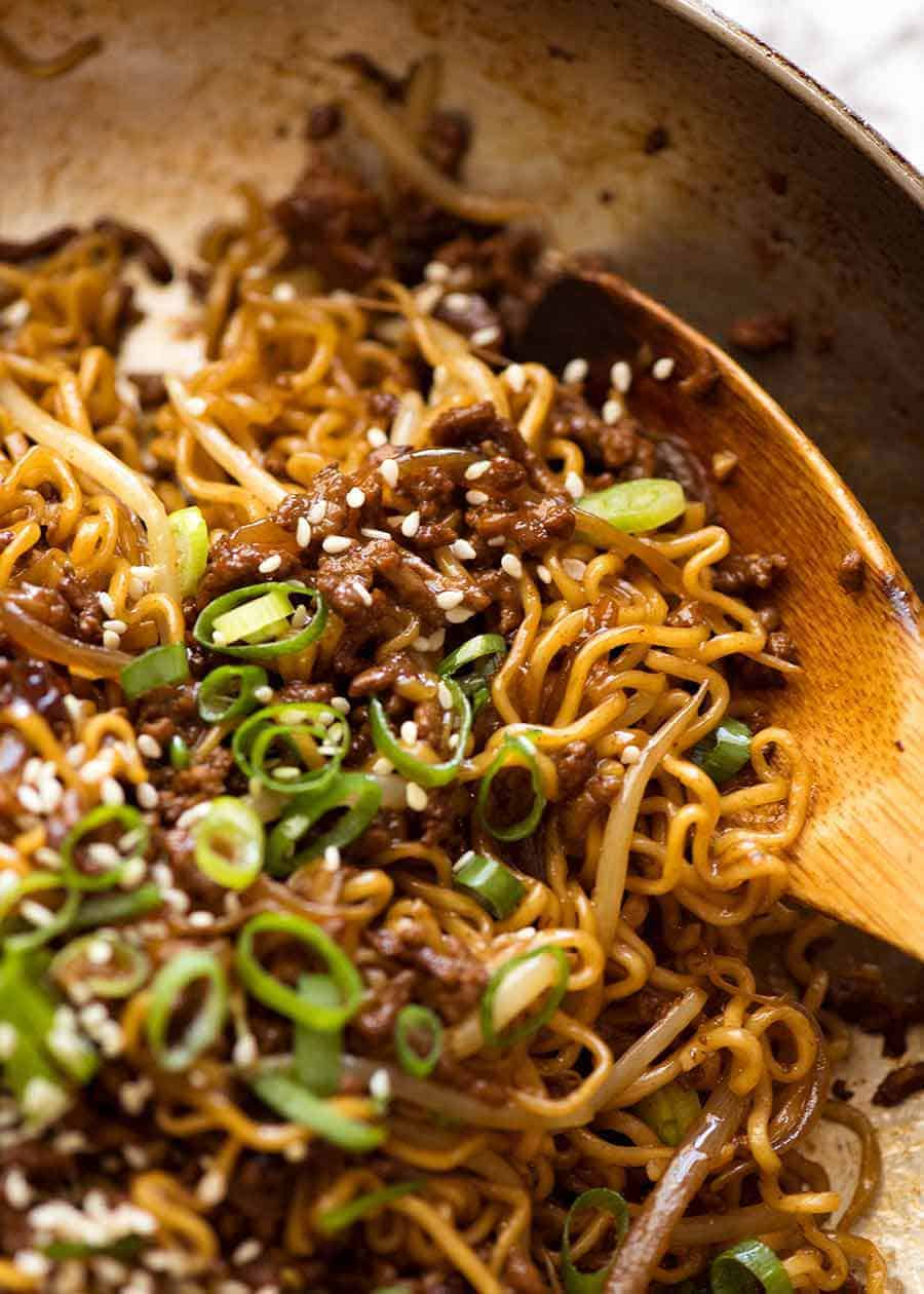 Close up of Quick Asian Beef Ramen Noodles fresh off the stove, ready to be served