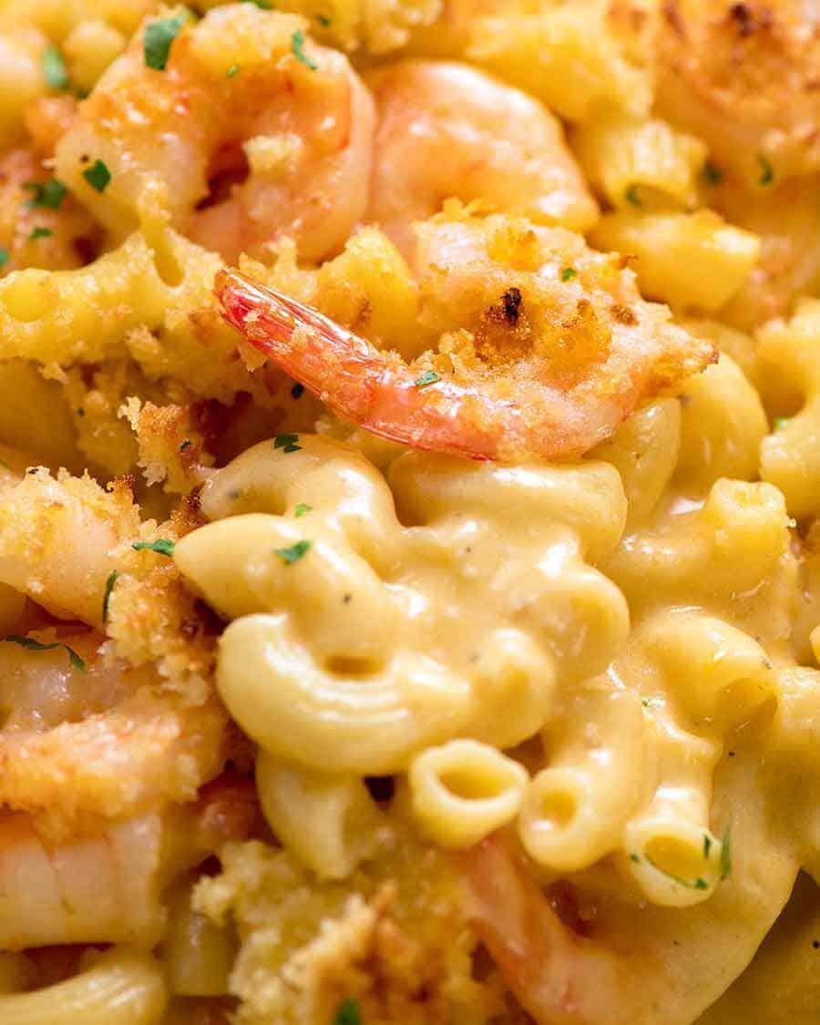 Close up of Garlic Shrimp Mac and Cheese