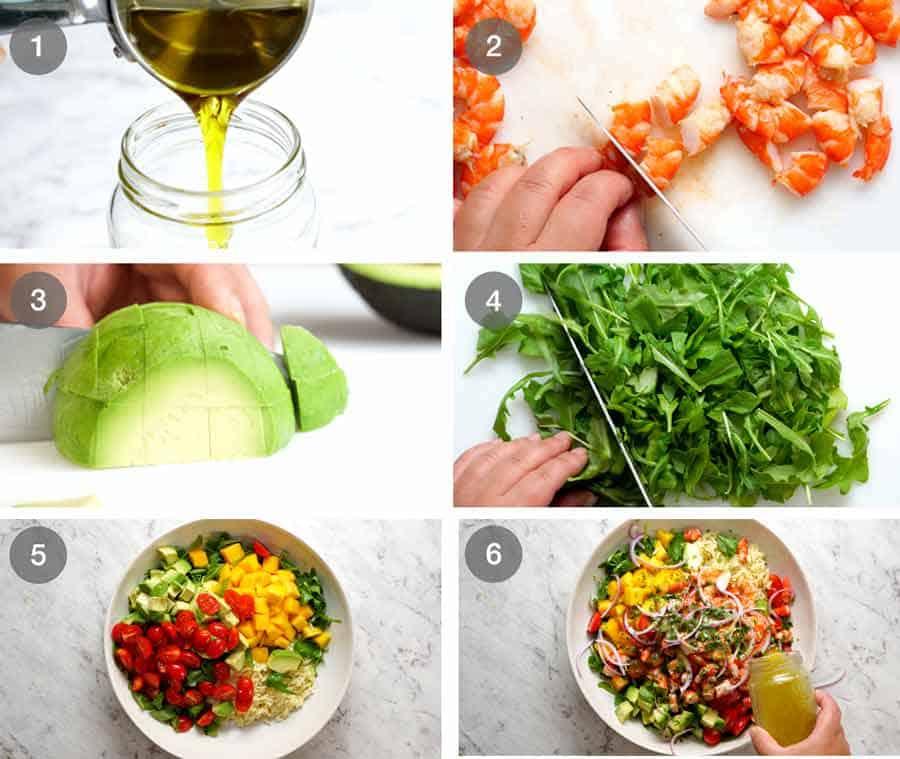 How to make Prawn Mango Avocado Summer Salad with Lime Dressing
