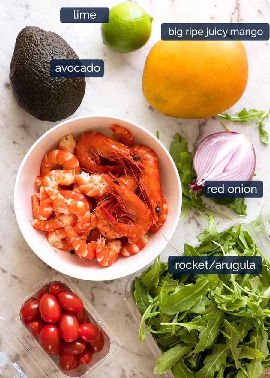 Ingredients in Prawn Mango Avocado Summer Salad with Lime Dressing