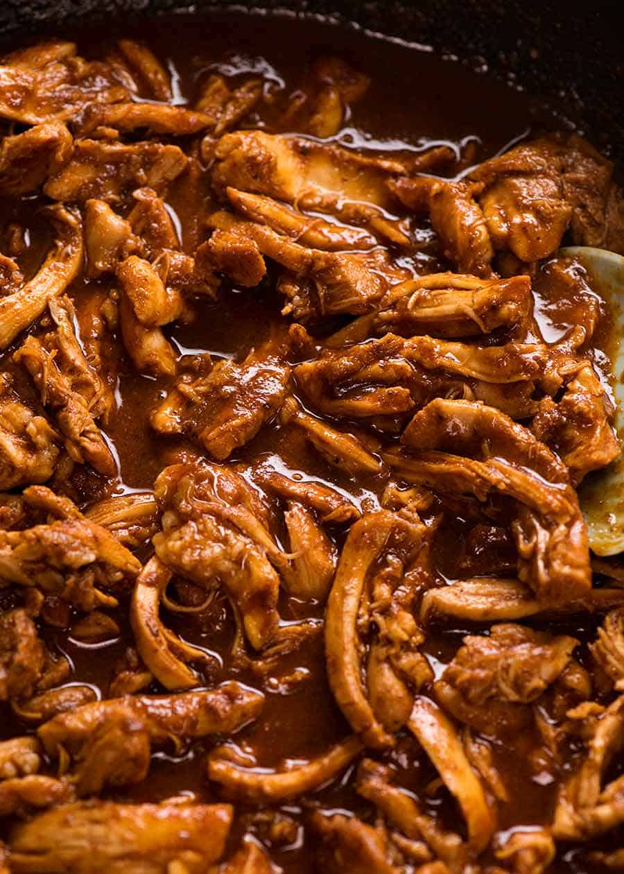 Mexican flavoured chicken seared, shredded then tossed in taco sauce
