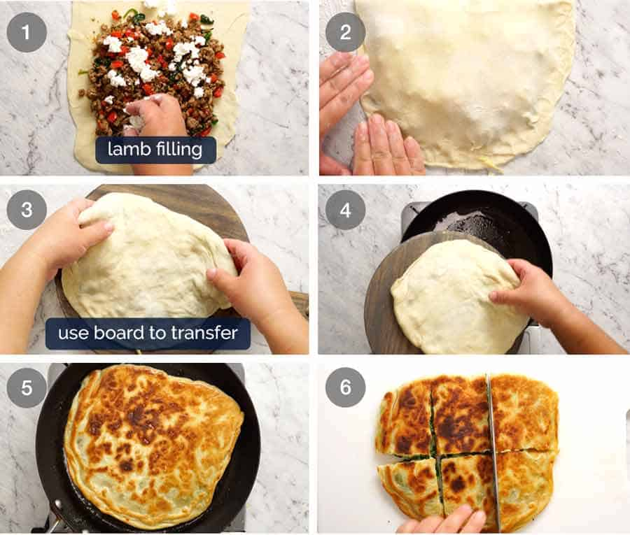 How to make Gozleme - Turkish stuffed flatbreads made with simple no yeast flatbread