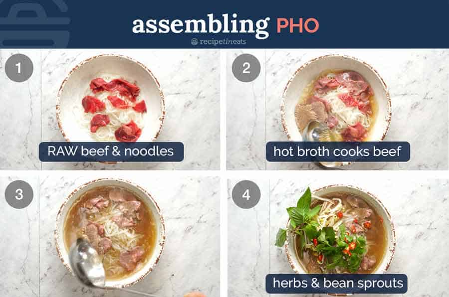 How to assemble pho noodle soup