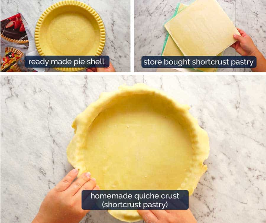 Quiche crust - ready made, store bought shortcrust pastry or homemade shortcrust pastry