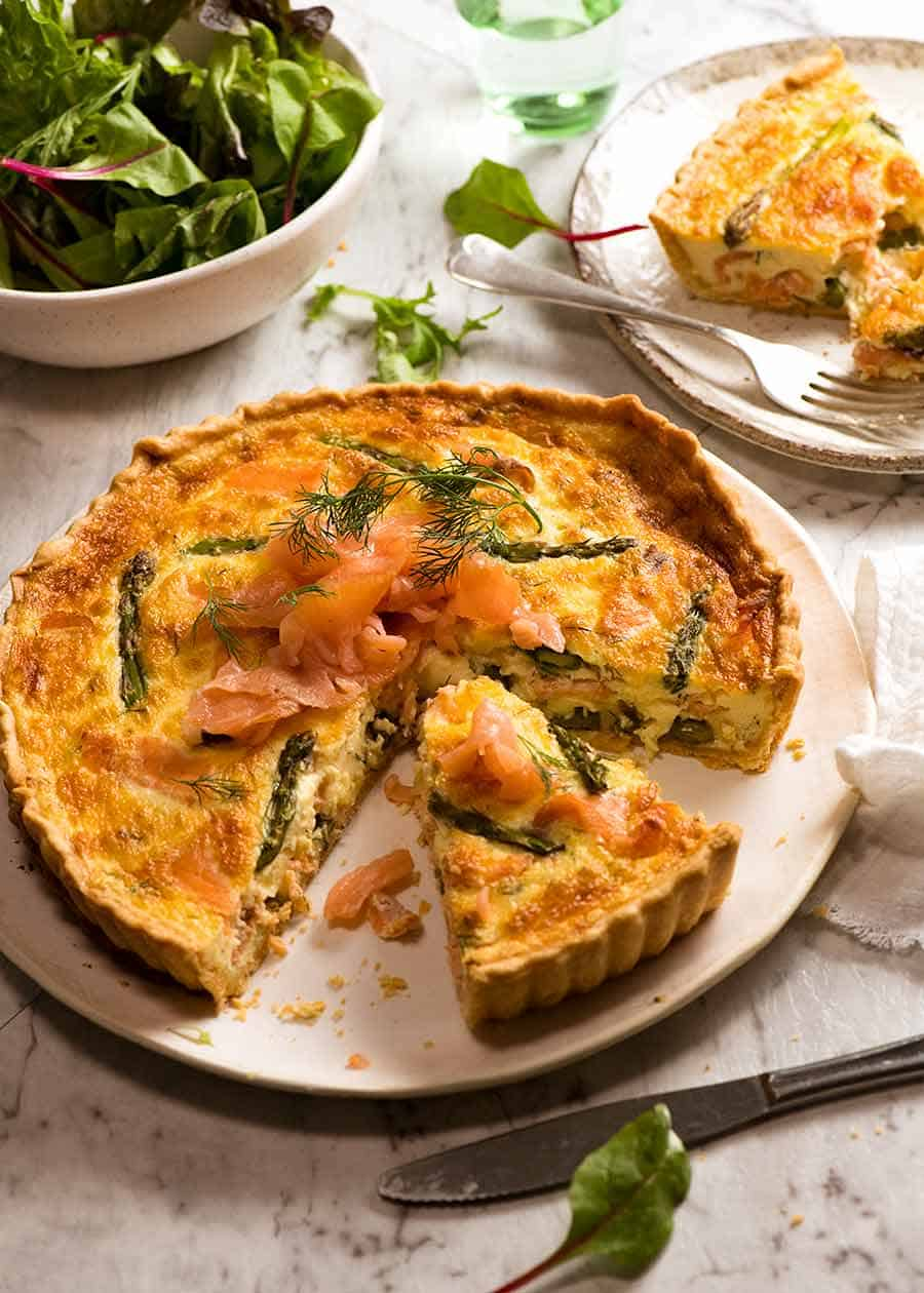 Salmon Quiche brunch with salad on the side