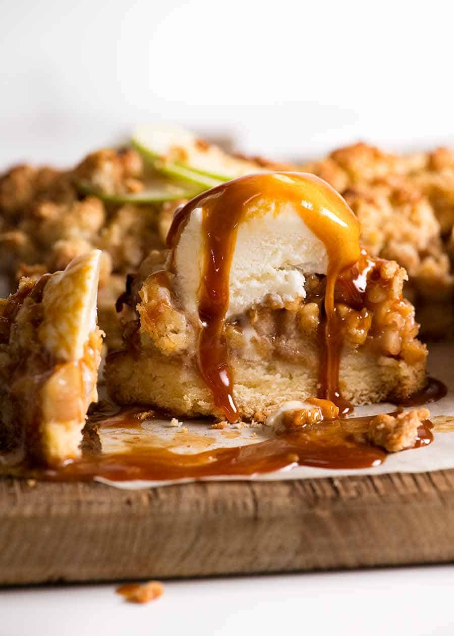 Apple Crumble Bar with ice cream and salted caramel sauce