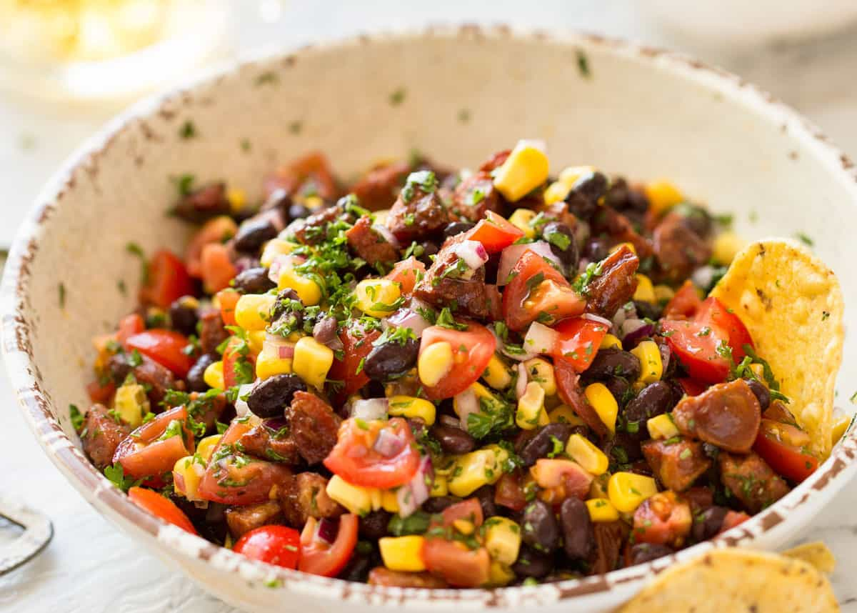 Chorizo Black Bean Corn Salsa in a bowl