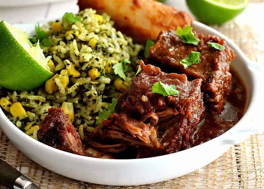 Close up of Mexican Beef Short Ribs in a white bowl