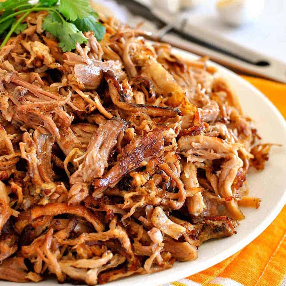 Pile of pork carnitas on a plate