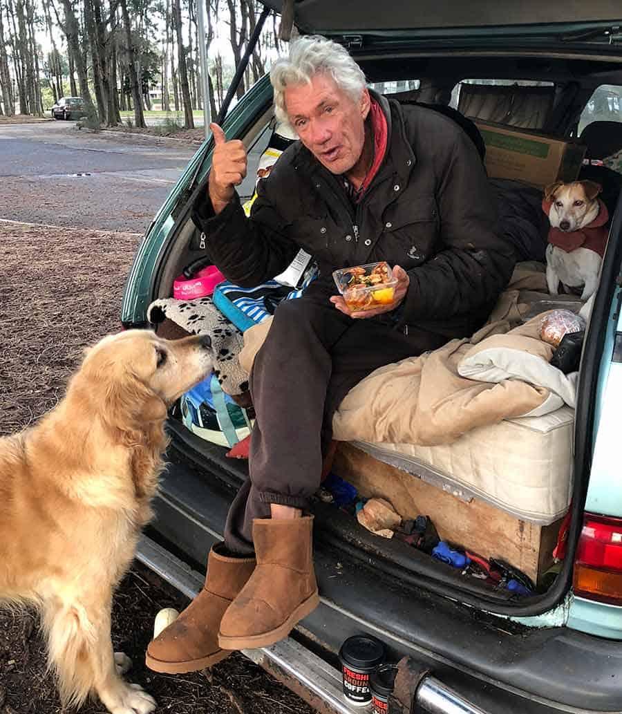 Dozer the golden retriever dog homeless man at dog park Bayview - grilled shrimp / prawns