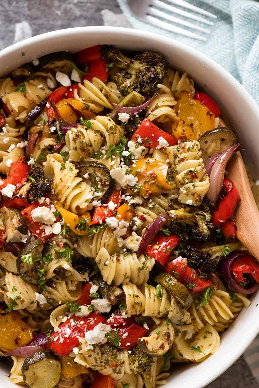 Overhead photo of marinated Vegetable Pasta Salad