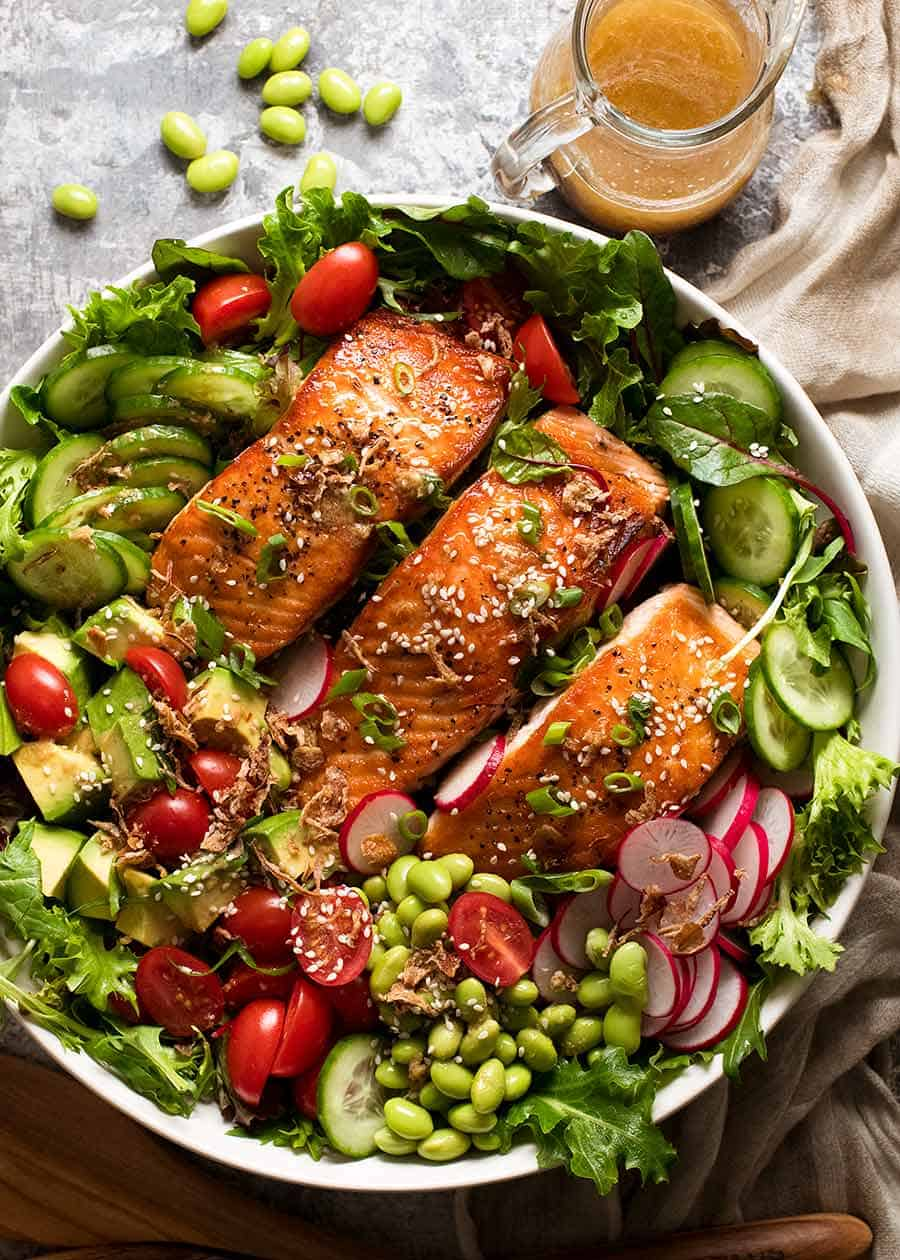 Overhead photo of Salmon Salad with Asian Ginger Sesame Dressing
