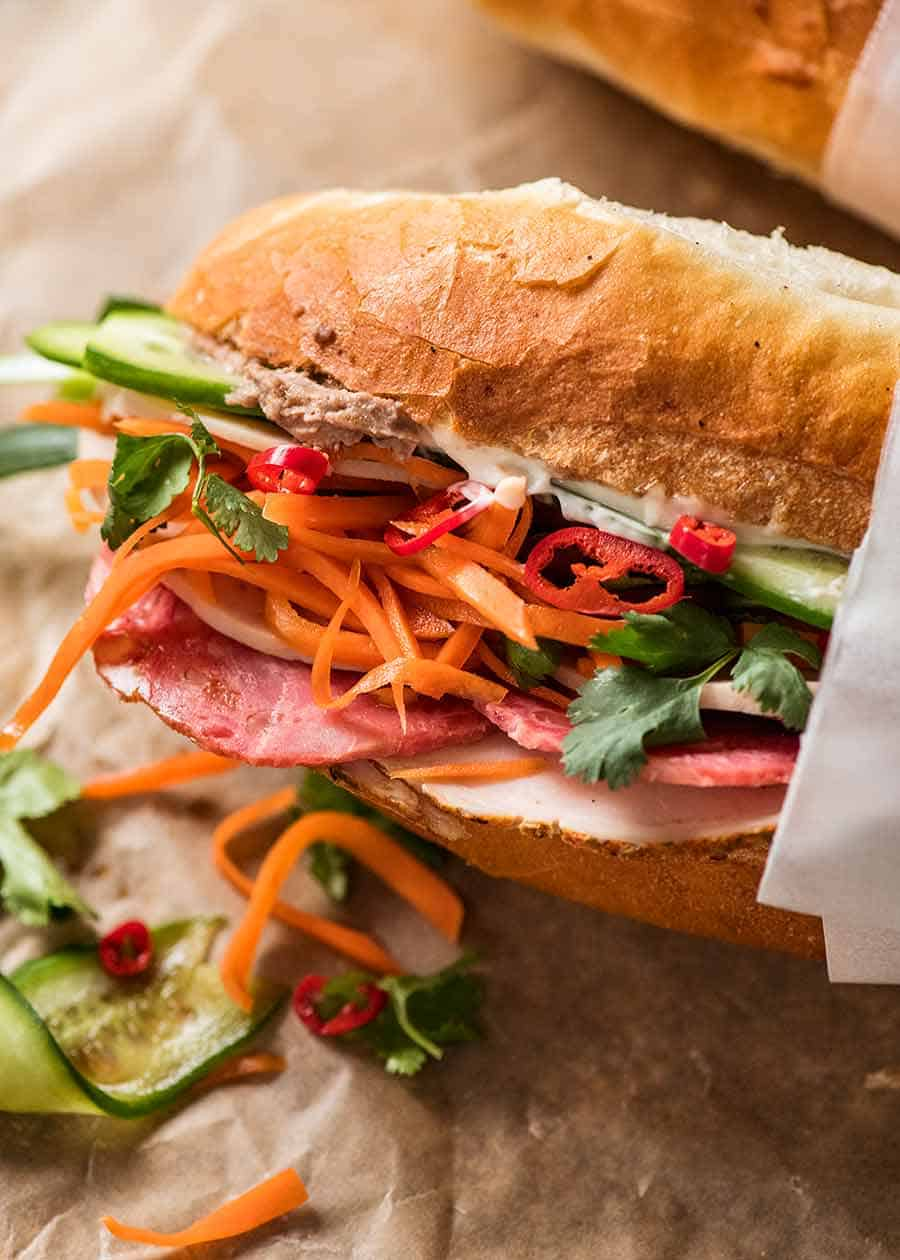 Close up of Banh Mi with Vietnamese meat