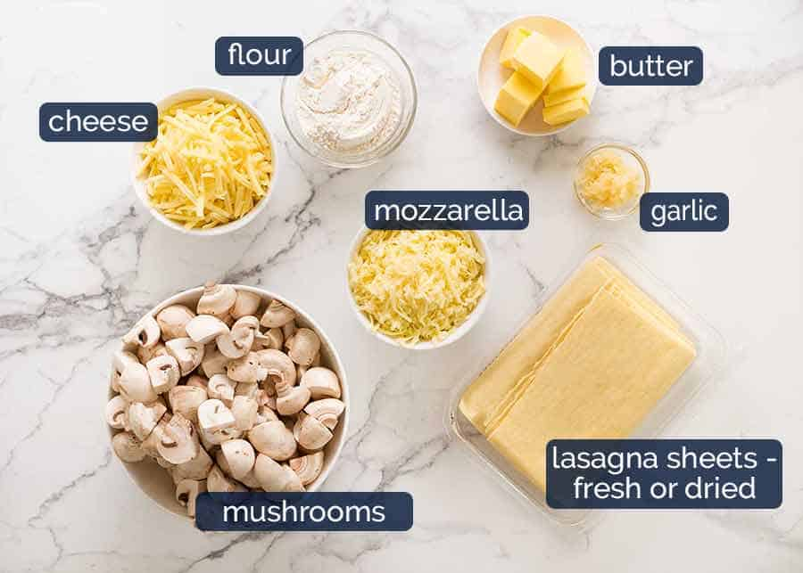 Ingredients for Chicken Lasagna