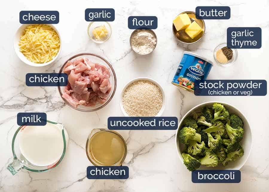 Ultra Lazy Chicken Rice Casserole ingredients