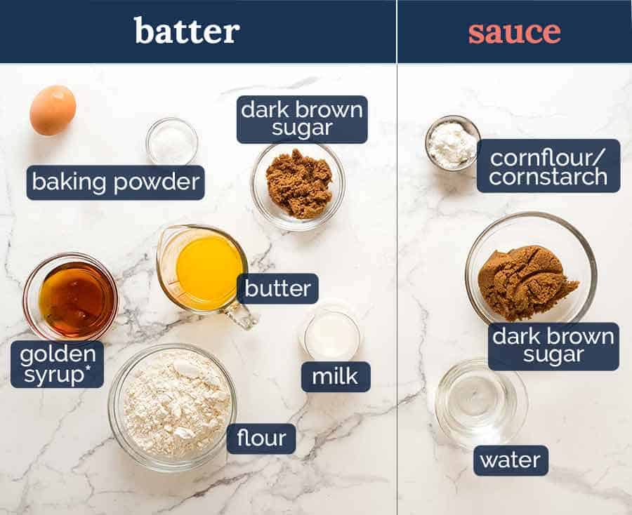 Self Saucing Butterscotch Pudding ingredients