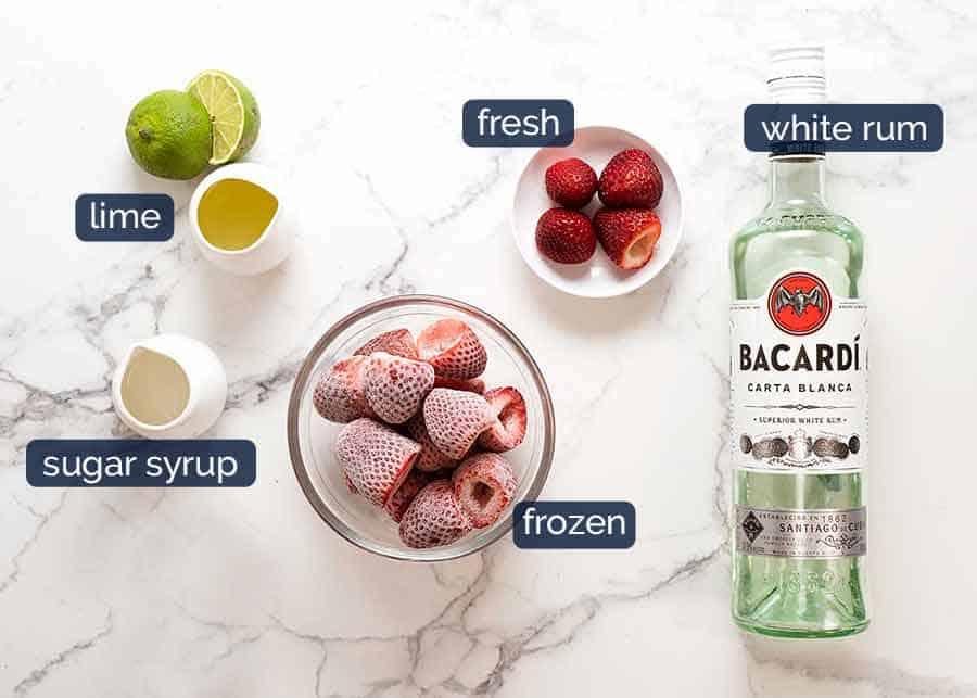 What goes in Frozen Strawberry Daiquiris